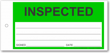 INSPECTED tie-on tag, DuroTuff, Green