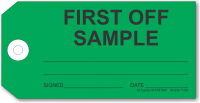 First Off Sample tag, green