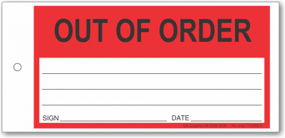 Out Of Order tie-on tag, DuroTuff, Red