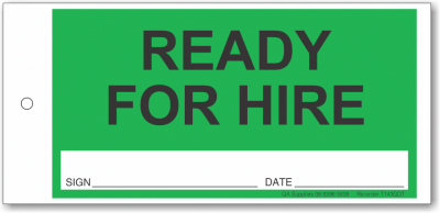 Ready for Hire tie-on tag, DuroTuff, Green