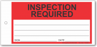 INSPECTION REQUIRED tie-on tag, DuroTuff, Red