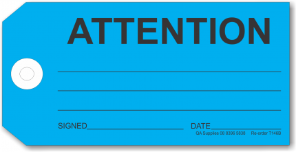 ATTENTION tie-on tag, blue