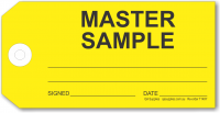 MASTER SAMPLE tie-on tag, yellow