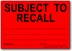 Subject to Recall adhesive label L136