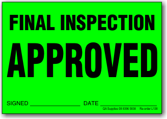 Final Inspection Approved adhesive label L138