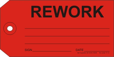 Rework tag, red
